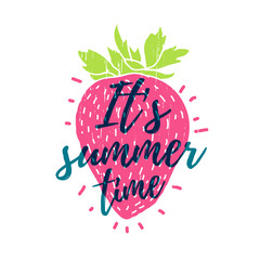 It's summer time. Print T-shirt with the text, and the decor of strawberry. Vector.