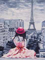 Art Oil-Painting Picture Romantic Lady in Paris