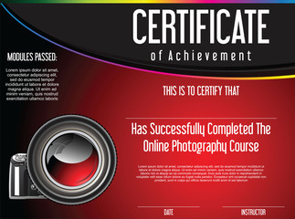 Certificate of achievement for online photography course