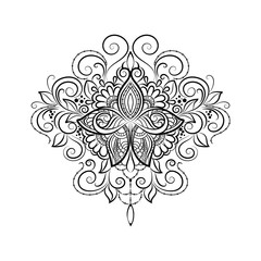 Vector ornamental Tattoo Lotus, Hand drawn illustration in doodle style.
