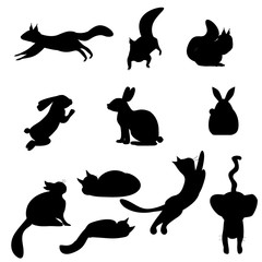 Isolated black silhouettes cat, rabbit, squirrel