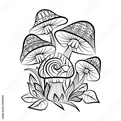 hand drawn doodle outline mushrooms vector zentangle illustration rh fotolia com Vector Sonic Coloring Vector Sonic Coloring