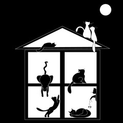 Silhouettes of cats in the house on black background