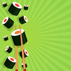 Sushi on a bright background.