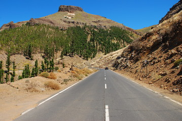 Road to volcanic highlands on Canary islands, Spain