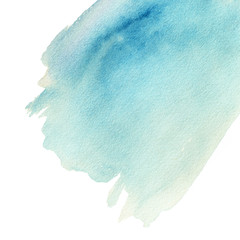..Colorful blue watercolor splash background. Abstract ink spot