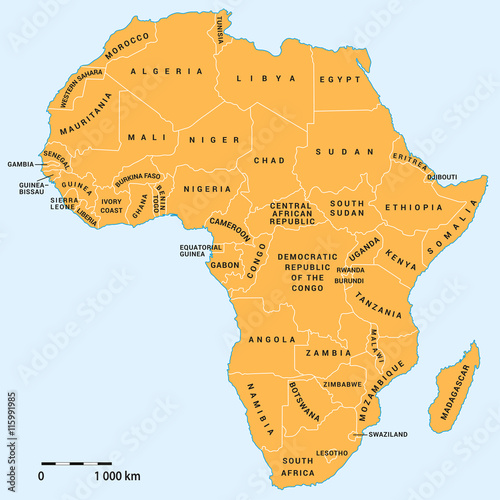 Africa political map with scale. Isolated african continent
