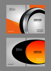 Vector empty brochure template design with black and red elements