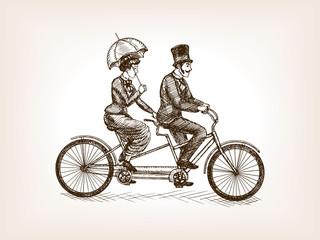 Vintage lady and gentleman bicycle sketch vector