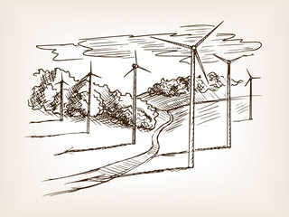 Wind power plant sketch vector illustration