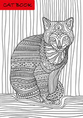 Cat's book. Colorized patterns cat sits and looks seriously