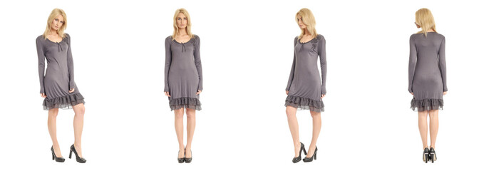Fashion model wearing gray dress with emotions on white