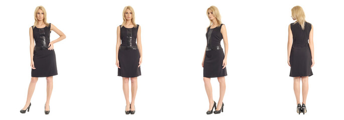 Fashion model wearing black dress with emotions on white