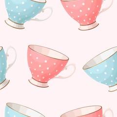 Seamless vintage teacups