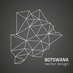 Botswana dark triangle contour vector map