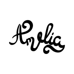 Female name - Amelia. Hand drawn lettering.