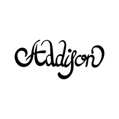 Female name - Addison. Hand drawn lettering.