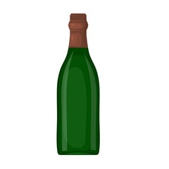 A green bottle of wine on a white background. Cartoon style. The