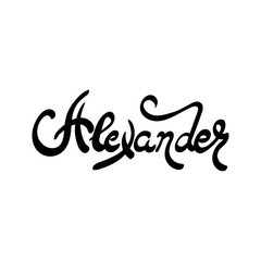 Male name - Alexander. Hand drawn lettering.