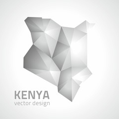 Kenya grey and silver polygonal vector perspective map