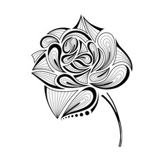 Hand draw abstract rose. Vector illustration