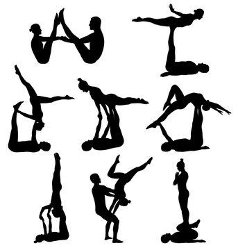 Acrobatic yoga silhouettes
