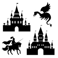 illustration silhouette of the castle, the knight and the dragon