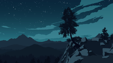 mountains and forest landscape illustration