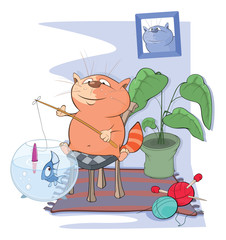 Illustration of a Cute Cat Fisherman. Cartoon Character