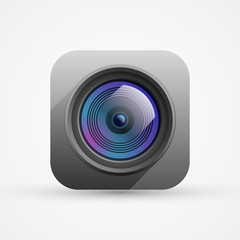 Camera objective, app icon, vector design