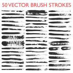 Big set of 50 vector grungy artistic brushes