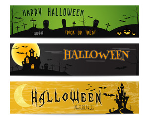 Three Halloween landscape banners. Green, dark and orange designs. Can be use on web, print, as invitation, flyer card, halloween poster etc. Creepy design for celebration holiday. Vector illustration