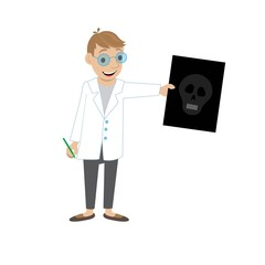 doctor shows x-ray of the skull. vector illustration of cartoon
