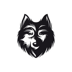 Wolf head monochrome symbol. Vector vintage illustration.