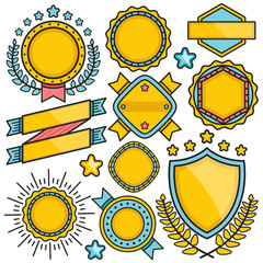 Labels, badges and ribbons set. Blue, red and yellow colors. Flat line design. Vector illustration
