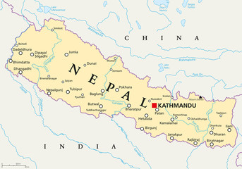Nepal political map with capital Kathmandu, national borders, cities and rivers. Federal democratic republic and landlocked country in South Asia, bordered to China and India. English labeling.