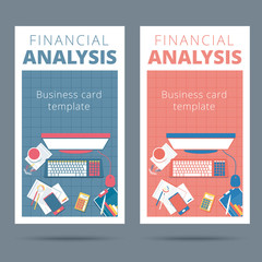 Financial analysis vector business card concept. Audit and accounting