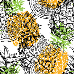Seamless pattern with the image of pineapple fruit and orange. Vector illustration.