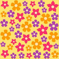 Seamless background flower pattern. Vector flat cartoon illustration