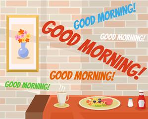 Good morning in cafe. Vector flat cartoon illustration