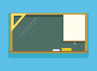 Green empty school board. Back to school. Vector flat cartoon illustration