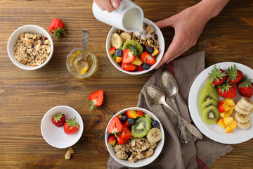 two breakfast bowl with fruits