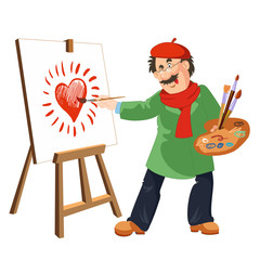 Painter draws shining heart. The easel, palette, brushes and paints.
