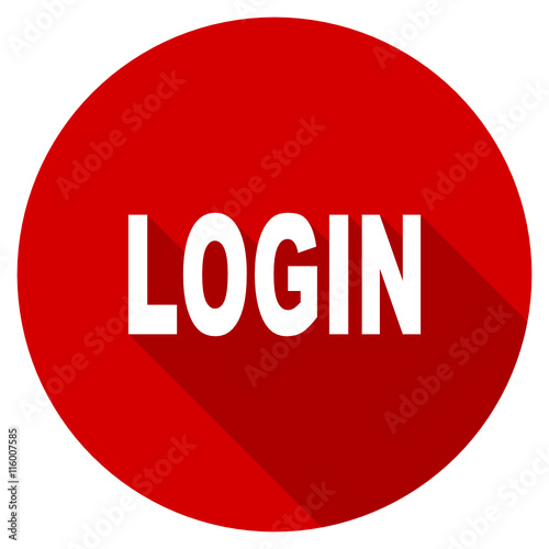 flat design red round login vector icon stock image and royalty rh fotolia com
