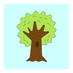 Cartoon tree with hollow and burning eyes inside. Vector illustration.