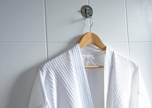 White bathrobe on hanger