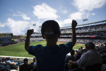 Child standing and cheering at a baseball game. Silhouette view from behind