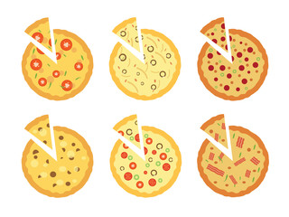 set of flat pizza icons isolated on white