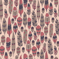 Vector hand drawn seamless patterns with feathers