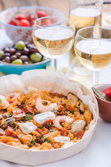 paella and white wine